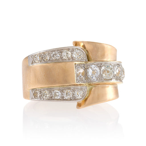 Macklowe Gallery Gold and Diamond Buckle Ring