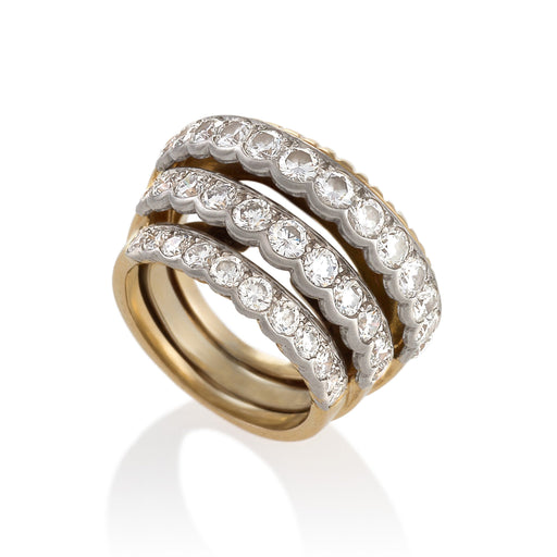 Macklowe Gallery Cartier Stepped Gold and Diamond Ring