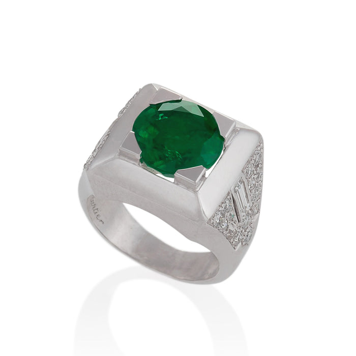 Macklowe Gallery Cartier Colombian Emerald and Diamond Ring