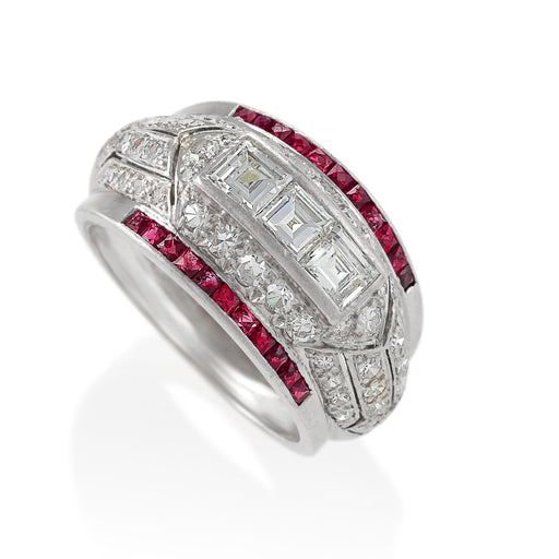 Macklowe Gallery Diamond and Ruby Bombé Ring