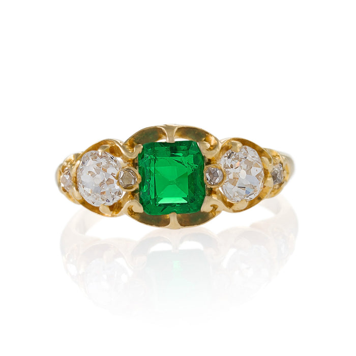 Macklowe Gallery Emerald and Diamond Three-Stone Gold Ring
