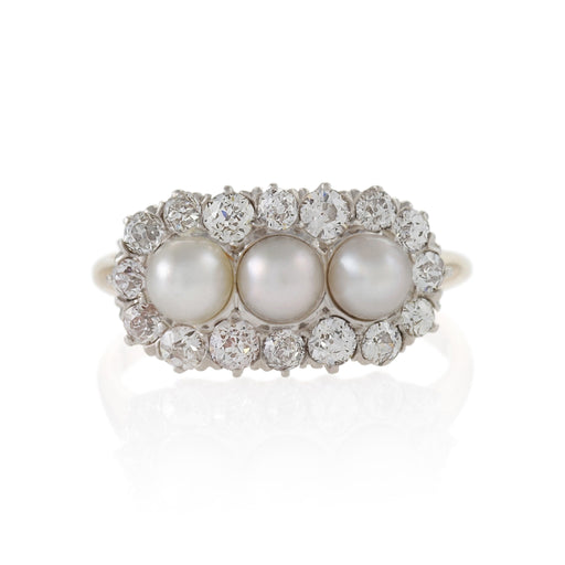 Macklowe Gallery Triple Pearl and Diamond Ring