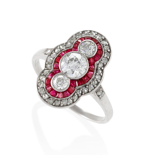 Macklowe Gallery Ruby and Three-Stone Diamond Shield Ring