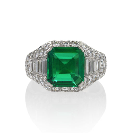 "Macklowe Gallery Bulgari Emerald and Diamond ""Trombino"" Ring"