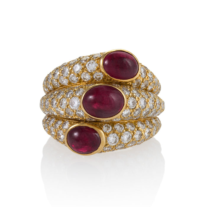 "Macklowe Gallery Cartier Ruby and Diamond ""Three Band"" Ring"