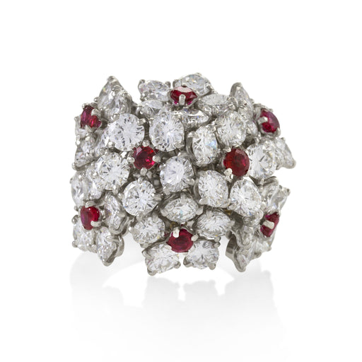 Macklowe Gallery Van Cleef & Arpels Ruby and Diamond Blossom Cluster Ring