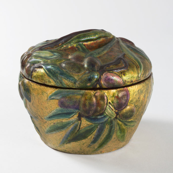 "Macklowe Gallery Tiffany Studios New York Enameled Copper ""Olive"" Covered Box"
