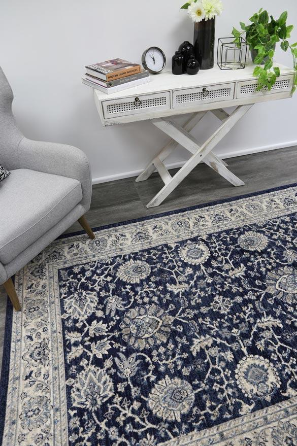 Alanya Navy Blue Traditional Rug