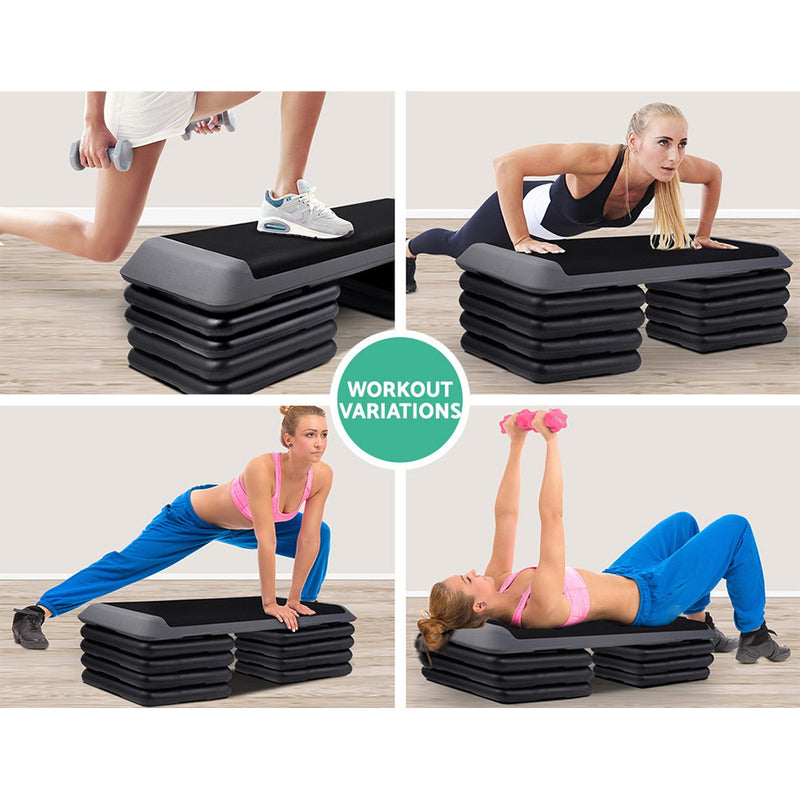 Everfit Aerobic Step Exercise Stepper Risers Gym Cardio Fitness 5 Level Bench