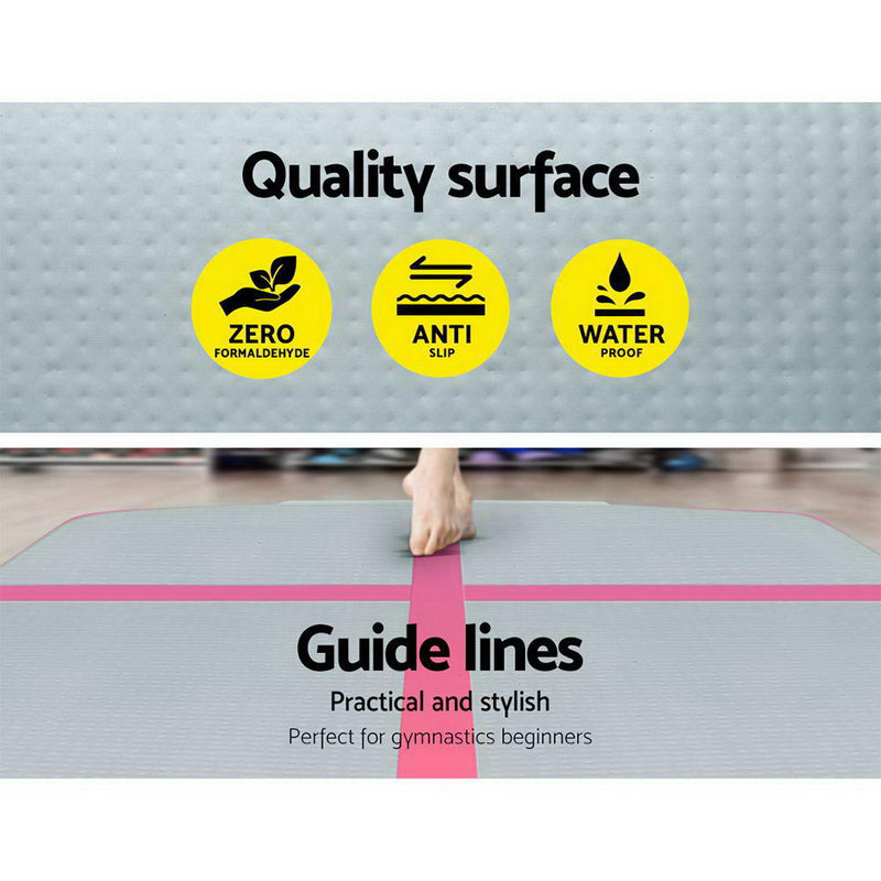 Everfit 3m x 1m Air Track Mat Gymnastic Tumbling Pink and Grey