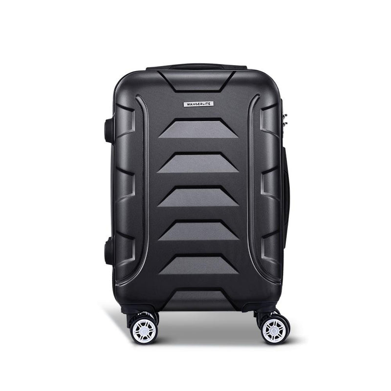 "Wanderlite 20"" Luggage Sets Suitcase Trolley Travel Hard Case Lightweight Black"