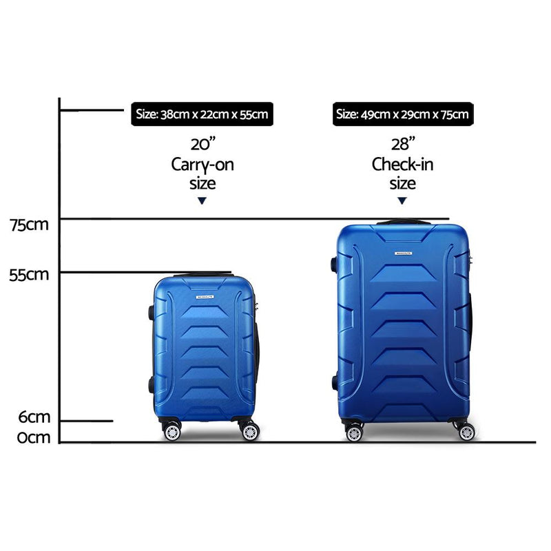 Wanderlite 2PCS Carry On Luggage Sets Suitcase TSA Travel Hard Case Lightweight Blue