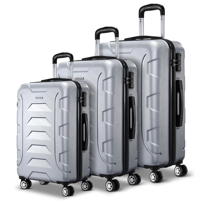 Wanderlite 3PCS Carry On Luggage Sets Suitcase TSA Travel Hard Case Lightweight Silver