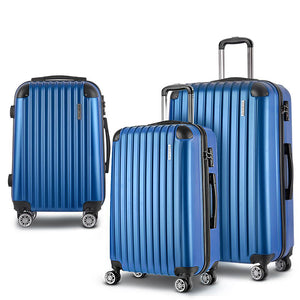 Wanderlite 3 Piece Lightweight Hard Suit Case Luggage Blue