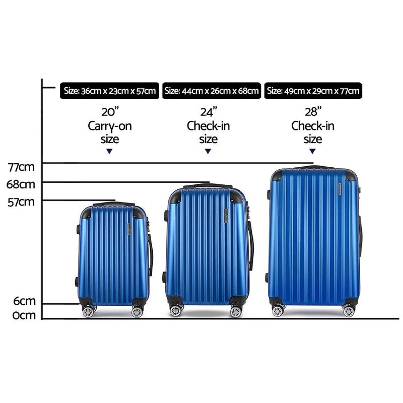 Wanderlite 3 Piece Luggage Suitcase Trolley - Blue