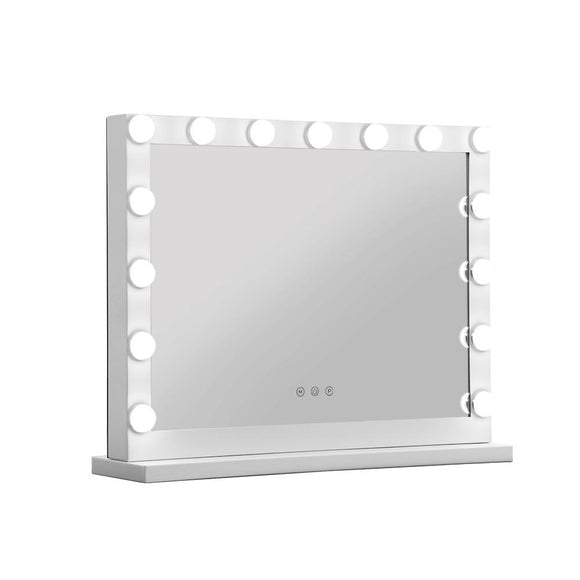 Embellir Makeup Mirror With Light Hollywood 15 LED Bulbs Vanity Lighted White 58cm x 46cm