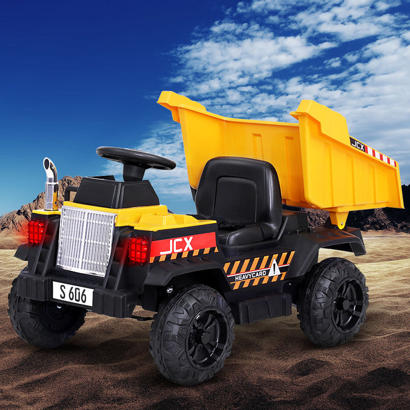 Rigo Kids Ride On Car Dumptruck 12V Electric Bulldozer Toys Cars Battery Yellow