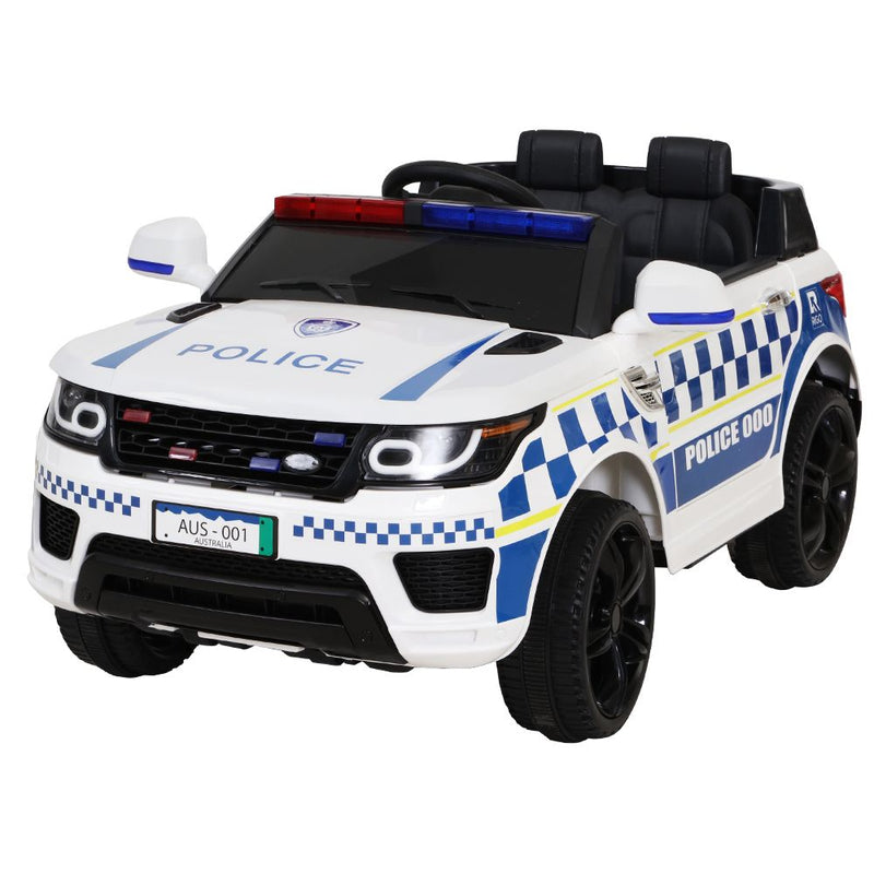 Rigo Kids Ride On Car Inspired Patrol Police Electric Powered Toy Cars White