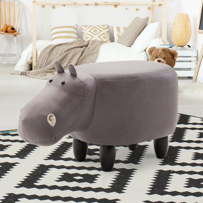 Keezi Kids Ottoman Foot Stool Toy Hippo Chair Pouffe Footstool Rest Fabric Seat