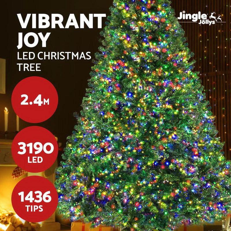 ingle Jollys Christmas Tree LED 2.4M 8FT Xmas Decorations Green Home Decor
