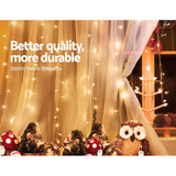 Jingle Jollys 6X3M Christmas Curtain Lights 600LED Warm White