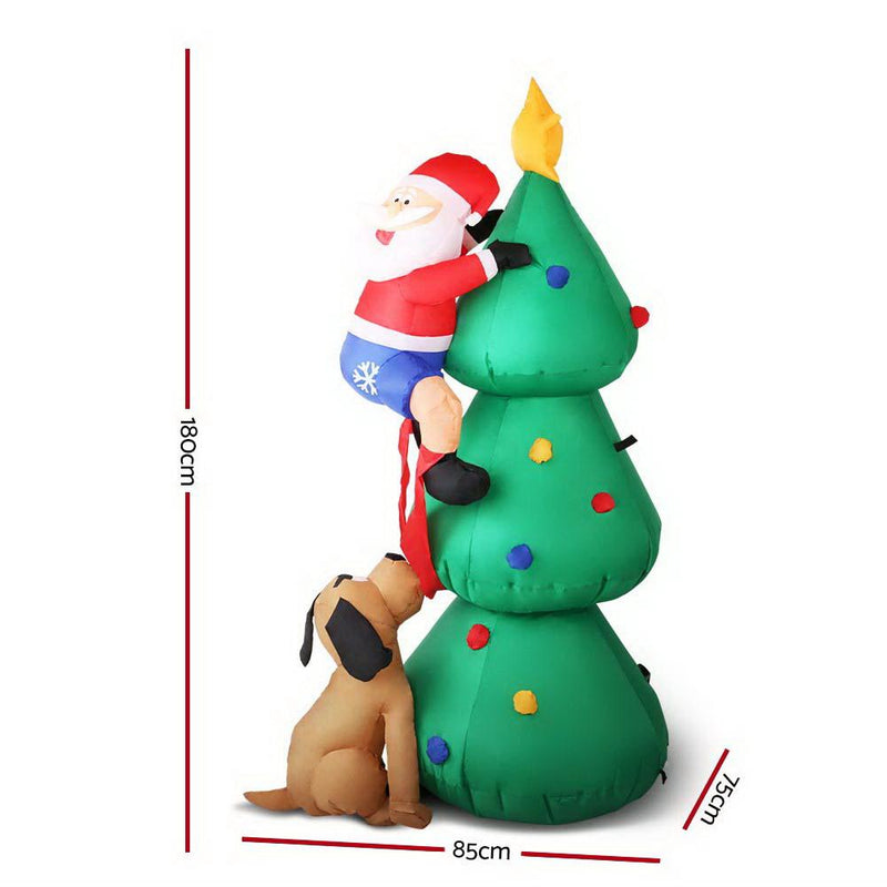 Jingle Jollys 1.8M Christmas Inflatable Santa on Tree Lights Xmas Decor Airblown