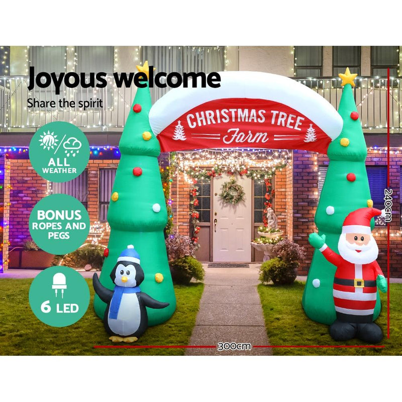 Jingle Jollys Inflatable Christmas Tree Archway Santa 3M Xmas Outdoor Decoration