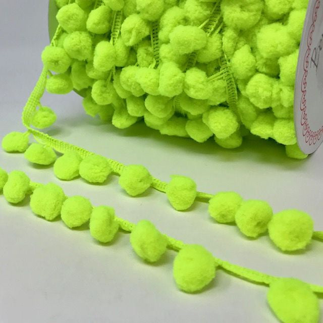 Lime Green Pom Pom Trim 1 Metre