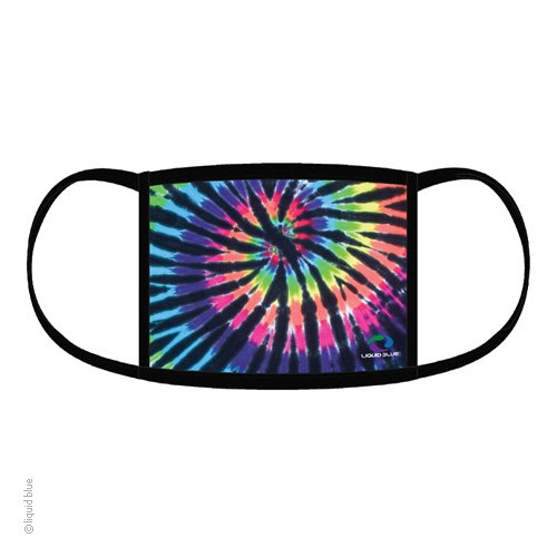 Black Tie Dye Rainbow Spiral Face Mask