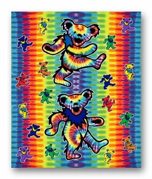 Grateful Dead Bears Tie Dye Fleece Blanket