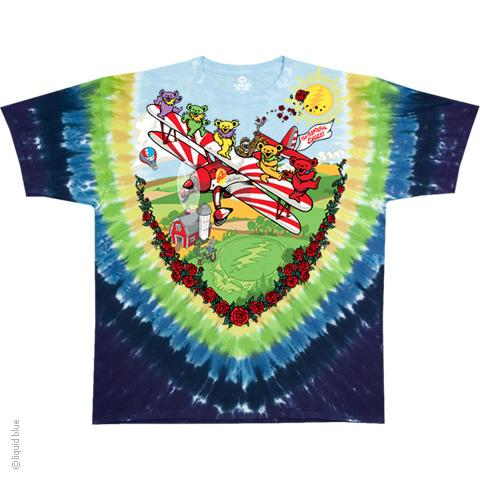 Grateful Dead Bi Plane Bears Tie Dye T-Shirt