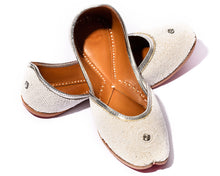 Load image into Gallery viewer, Moon - Beaded White Women's Jutti Flats