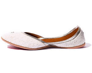 Moon - Beaded White Women's Jutti Flats