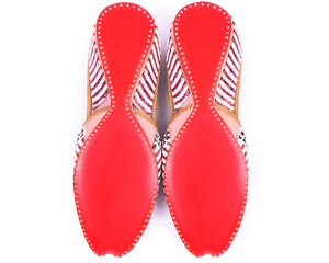 Nikita - Red Beaded Women's Jutti Flats