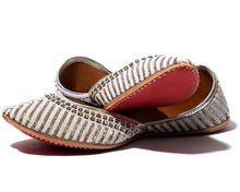 Load image into Gallery viewer, Nikita - Silver Beaded Women's Jutti Flats