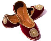 Load image into Gallery viewer, Beloved - Maroon Fabric Women's Jutti Flats