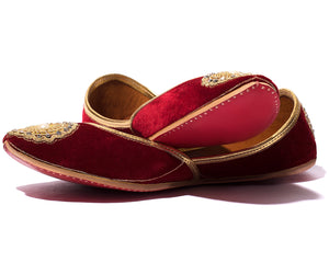 Beloved - Maroon Fabric Women's Jutti Flats