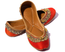 Load image into Gallery viewer, Arama - Orange Silk and Thread Women's Jutti Flats