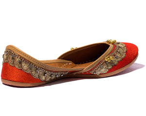 Arama - Orange Silk and Thread Women's Jutti Flats