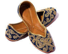 Load image into Gallery viewer, Celestial Maiden - Blue Threaded Women's Jutti Flats