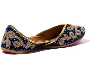 Celestial Maiden - Blue Threaded Women's Jutti Flats