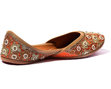 Load image into Gallery viewer, Lotus - Orange BeadedWomen's Jutti Flats