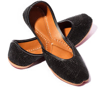 Load image into Gallery viewer, Desire - Black Beaded Women's Jutti Flats