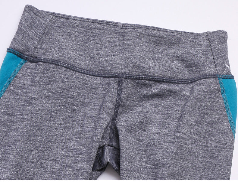 Cozy Orange Helena Crops in Heather Charcoal and Ocean Blue - Front Waist