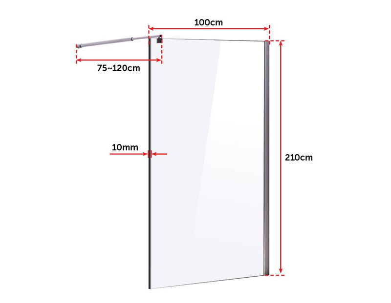1000 x 2100mm Frameless 10mm Safety Glass Shower Screen - Sale Now