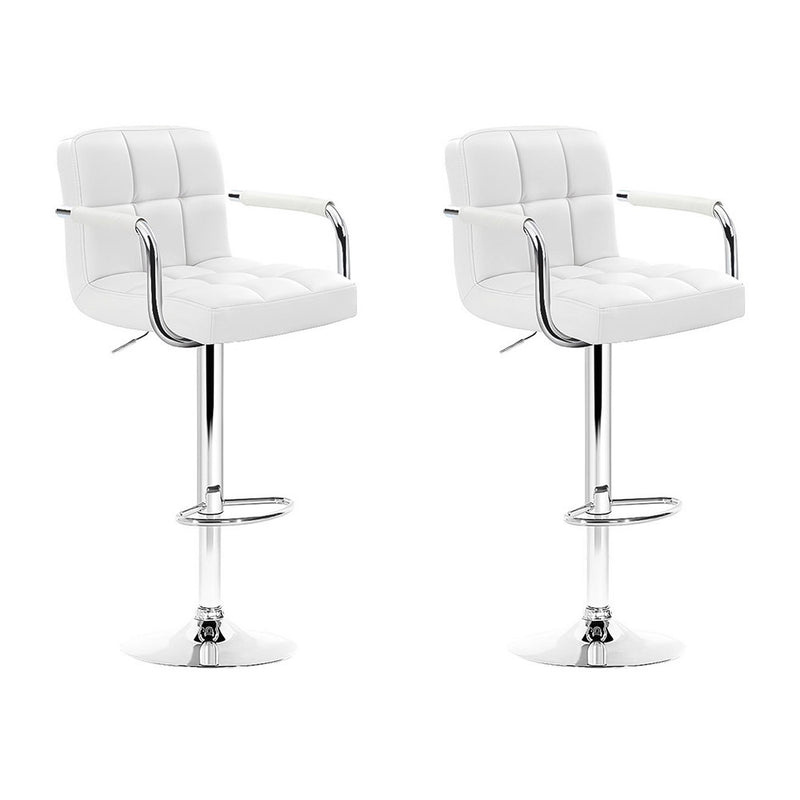 Artiss Set of 2 Bar Stools Gas lift Swivel - Steel and White