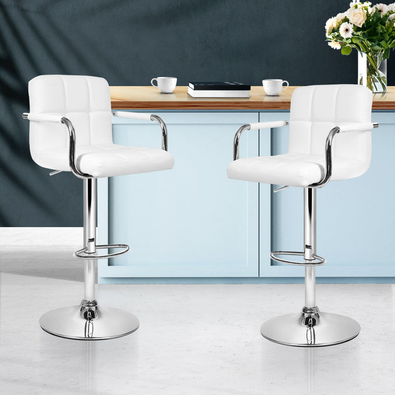 Artiss Set of 2 Bar Stools Gas lift Swivel - Steel and White - Sale Now