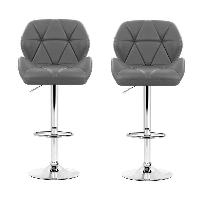 Artiss Set of 2 Kitchen Bar Stools - Grey and Chrome - Sale Now