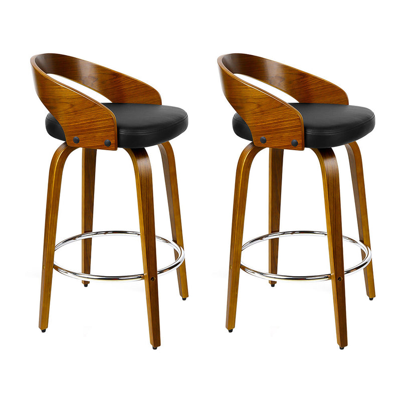 Artiss Set of 2 Walnut Wood Bar Stools - Black and Brown
