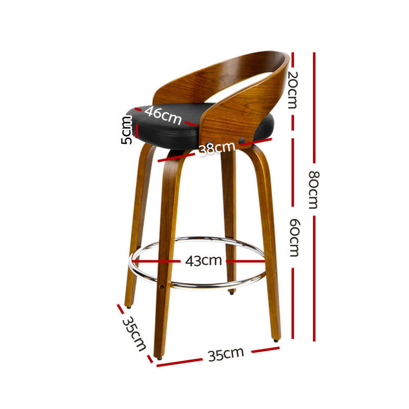 Artiss Set of 2 Walnut Wood Bar Stools - Black and Brown - Sale Now